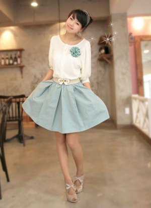NEW ARRIVAL eBeauty*101188- Blue Cotton korean dress come with belt & brooch