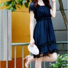 NEW ARRIVAL eBeauty *12001 - Navy Blue Feminine Korean stylish dress with lace