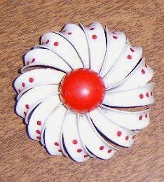 Free Shipping Retro 1950's Enameled Metal Flower w/ Red Polka Dots Brooch / Pin