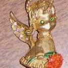 Retro 1950's Pin Angel w/ Rhinestones Holding Flowers Free Shipping
