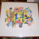 Original Abstract Drawing by Charles Melohs / 1976 / Free Shipping