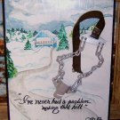 Free Shipping Ludlow Vermont Humor / Original Painting Driving in Snow Jan 1982