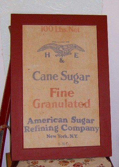 Free Shipping  Vermont Farm Antique Burlap Bag Cane Sugar  Eagle Logo  H & E  Framed