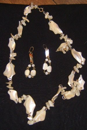 Antique Chunky Mother of Pearl / Shell Long Necklace & Drop Earring Set Free Ship
