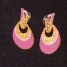 Free Shipping Durie  Art Nouveau Style Earrings / Mauve and Gold Color / Pierced Ears