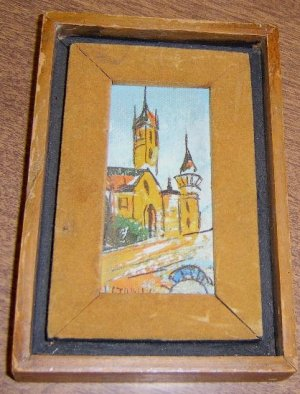 "Vintage Framed Miniature Oil Painting on Board of Church  2"" by 4"" SGND H. Stymil ?"