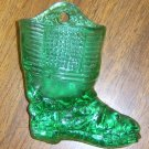 New Green Glass Boot Match Holder w/ Striker Free Shipping