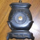 Antique Pressed Tin Brigade Pot Belly Wood Stove Shape Advertising Thermometer Free Shipping