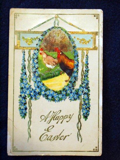 1896 Chicken Hen Rooster Easter Egg Postcard