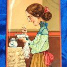 1908 Paul Finkenrath Comic Litho Postcard Series 6742 Woman Makes Tea for One