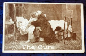 """Early 1900's Roth & Langley comic Sepia Photo Postcard Kissing Doctor """"The Cure"""""""