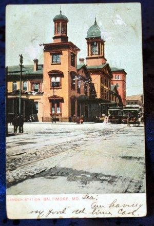 1906 Undivided Back Color Postcard Camden Train Station, Baltimore, MD