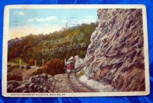 1919 Color Postcard Train rounding Neversink Mountain near Reading PA