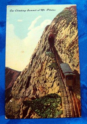 Vintage Color Postcard Train Car Climbing Mt. Pilatus Switzerland