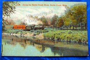 Vintage Color Postcard Train traveling along Battle Creek River, Battl