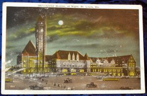 Miller Art Works Tinted Half tone Postcard St. Louis MO. Union Station at night
