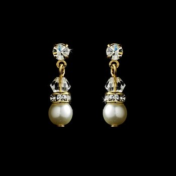 Gold  White Pearl Swarovski Crystals Drop Earrings
