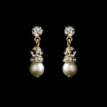 Gold  White Pearl Swarovski Crystals Drop Earrings