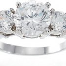 NEW 925 Sterling Silver CZ 3 Stone Engagement Ring