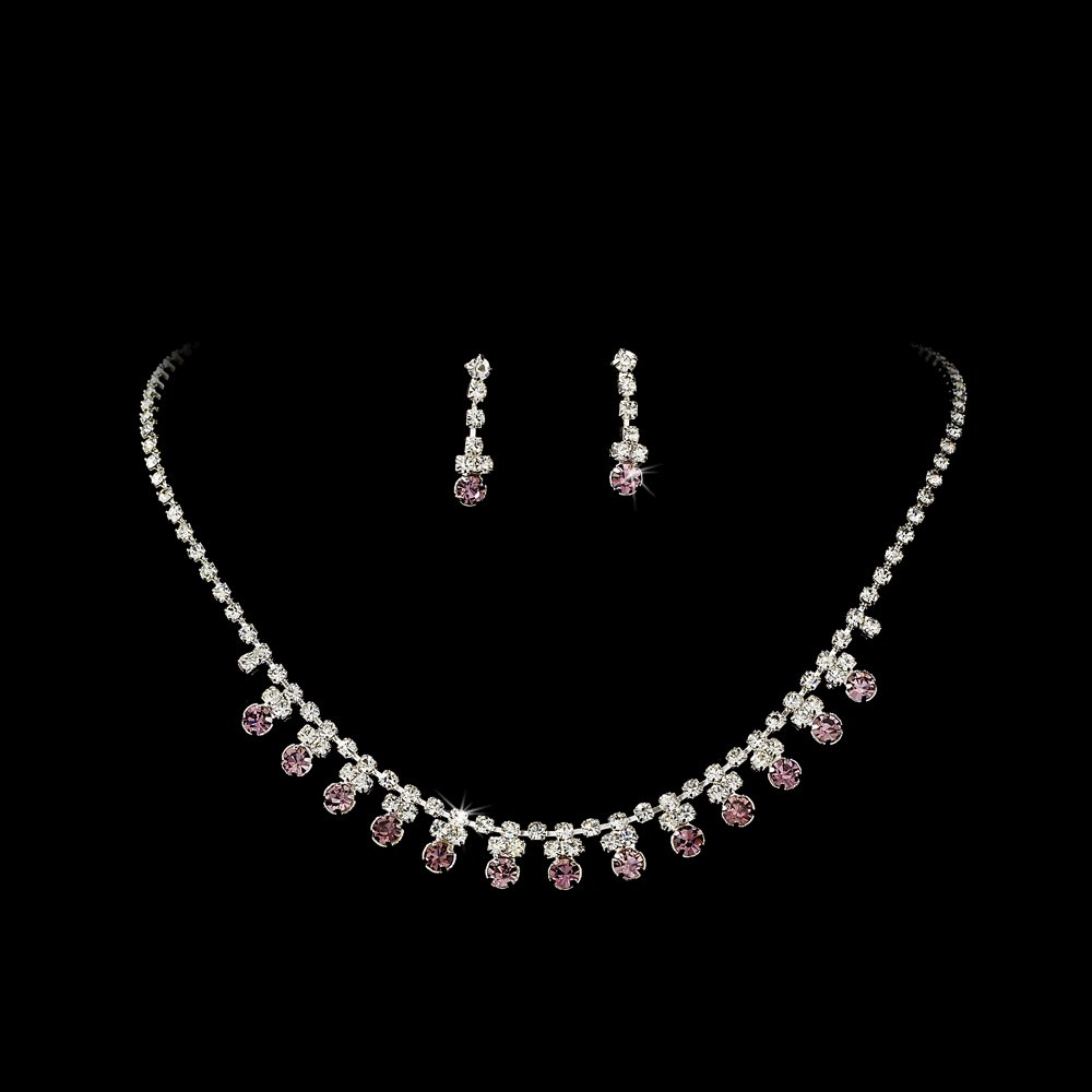 Silver Amethyst Rhinestone Accent Necklace Earring Set