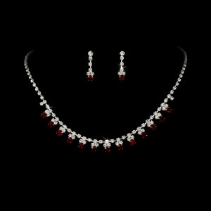 Silver Red Rhinestone Accented Necklace Earring Set