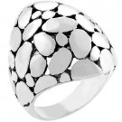 White Gold Silver Black Ink Cobblestone Ring