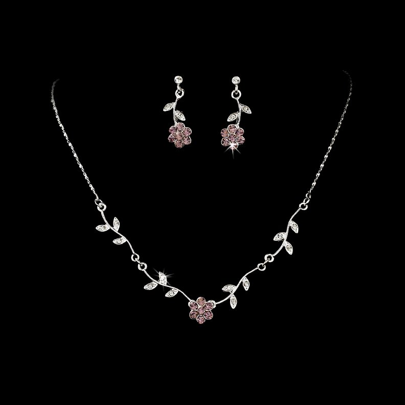 Silver Light Amethyst Floral Necklace Earring Set