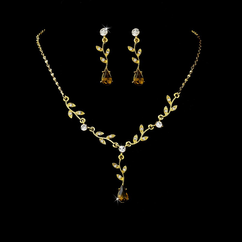 Gold Clear Brown Rhinestone Necklace Earring Set