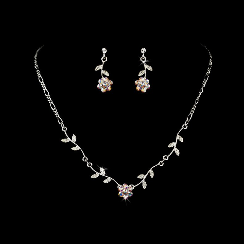 Silver AB Floral Bridal Necklace Earring Set