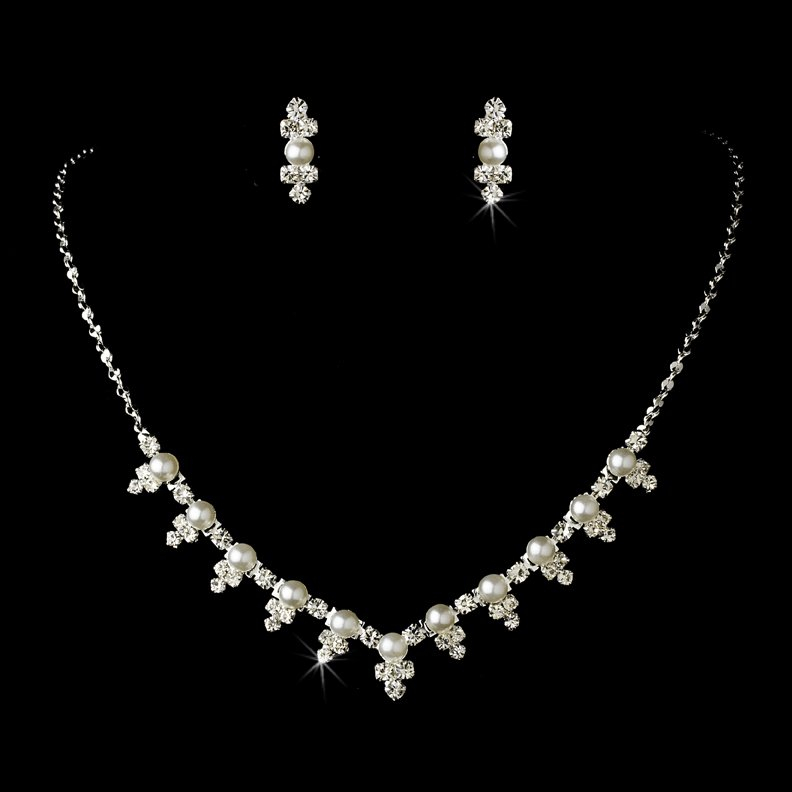 Silver Crystal White Pearl Necklace Earring Set