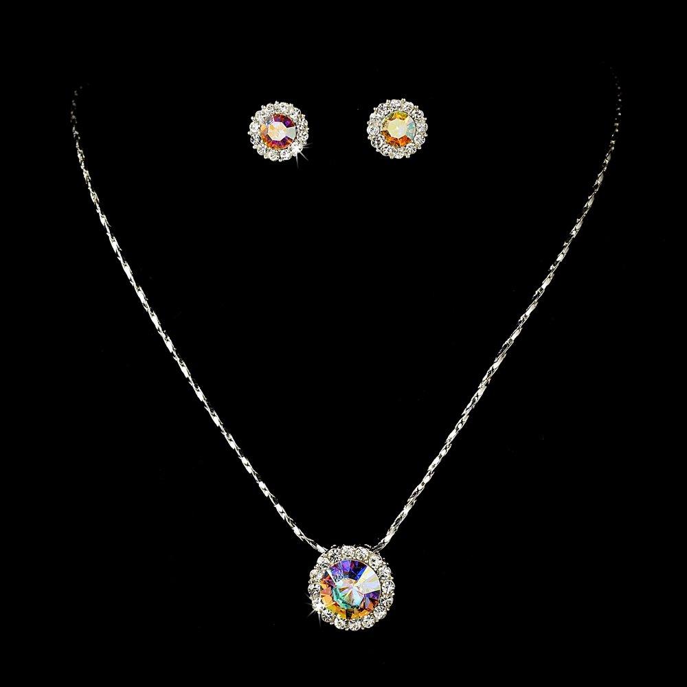 Silver AB Crystal Rhinestone Necklace Earring Set