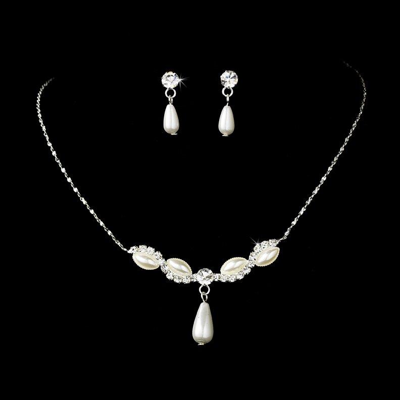 Silver Crystal Teardrop Necklace Earring Set