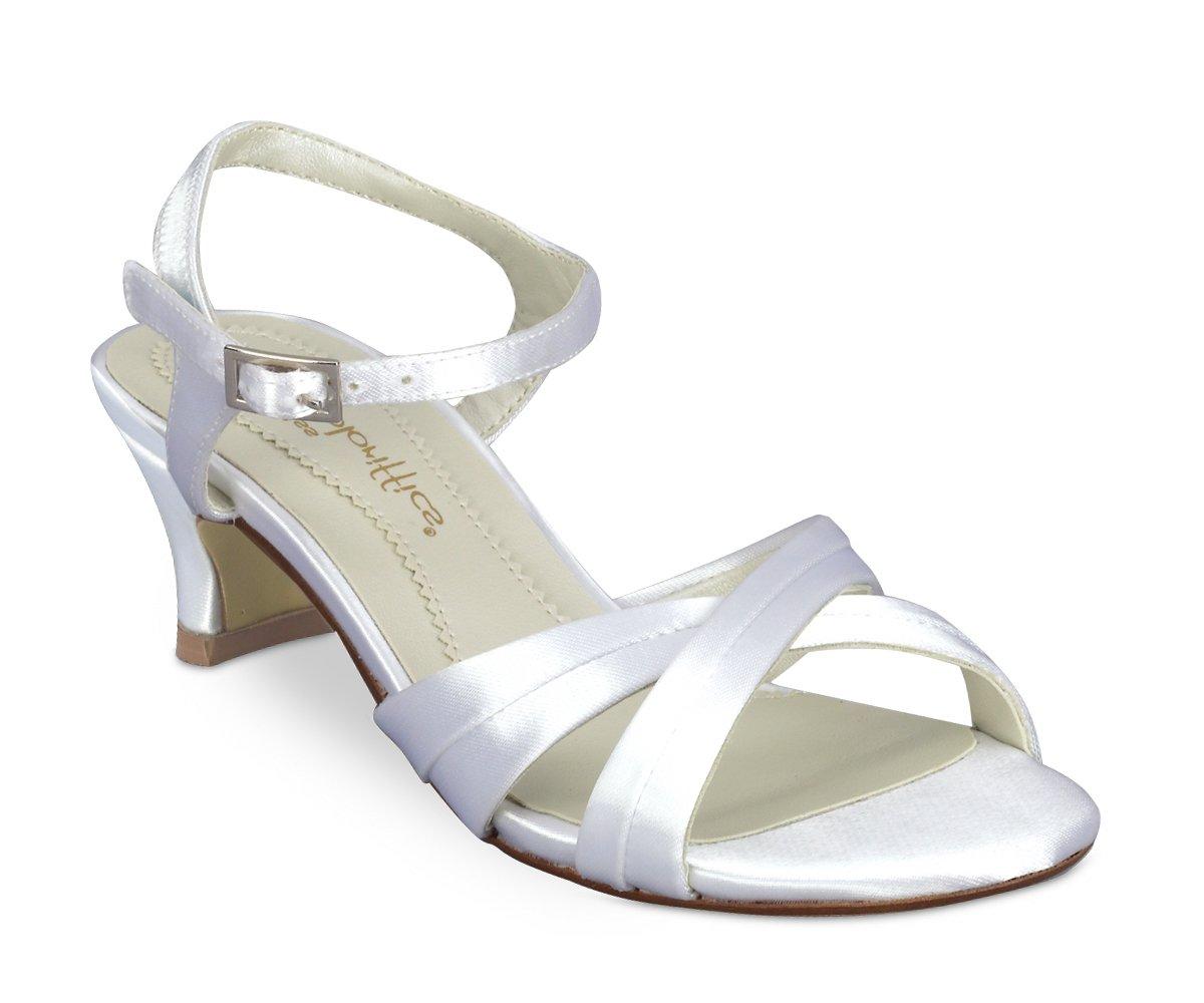 White Satin Dyeable Girls Child  Dress Shoes