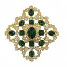 Joan Rivers NEW Emeral Diamond Crystals Brooche Pin