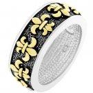 NEW 14k Gold Silver Antique Fleur De Lis Eternity Ring