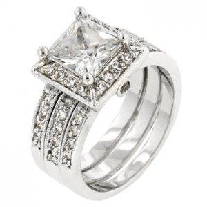 NEW White Gold Silver Princess Cut Bridal Set Rings