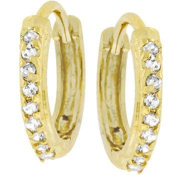 NEW 14K Gold CZ Tiny Hoops Earrings