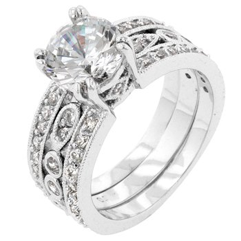 NEW White Gold Silver Triple Row Anniversary Ring