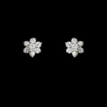 Silver Cubic Zirconia Flower Stud Earrings