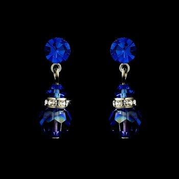 Navy Blue Swarovski Crystal Bridal Earrings