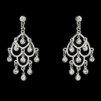 Silver Clear Rhinestone Chandelier Earrings