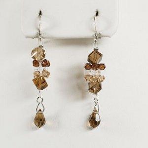 Silver Swarovski Brown Crystal Dangle Earrings