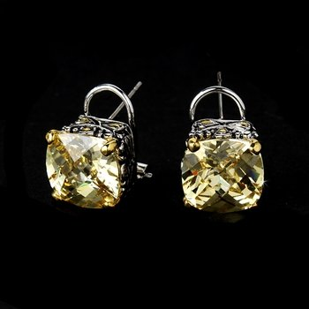 Silver Topaz Stones Classic CZ Stud Earrings