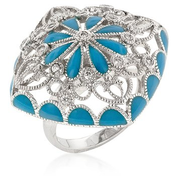 Blue Flower Enamel Rhodium CZ Ring