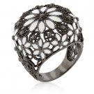 Black White Enamel Flower Fashion Ring