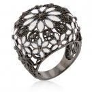 Black White Enamel Flower Fashion Ring
