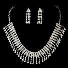 Silver Crystal Choker Chandelier Necklace Earring Set