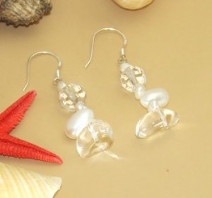 Sterling Silver Pearl Glass Dangle Earrings