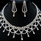 Silver Crystal Rhinestone Choker Necklace Earring Set