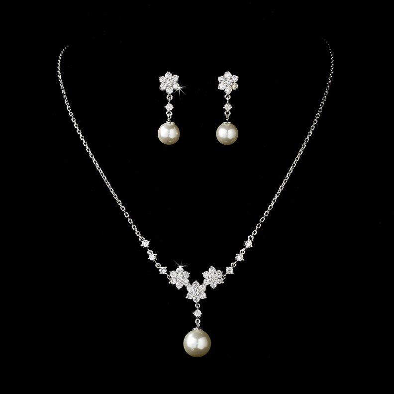 Silver Cubic Zirconia Pearl Necklace Earring Set